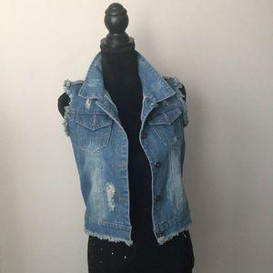 Jackets & Blazers - Distressed Denim Vest