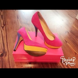 Enzo Angiolini pink, yellow, blue heels 7,5