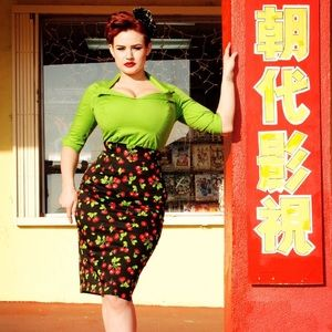 Modcloth Pinup Couture Retro Cherry Wiggle Skirt