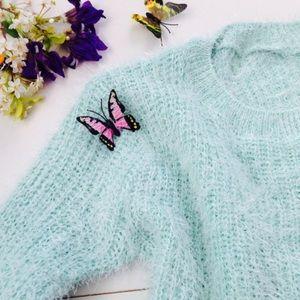 Sweaters - Mint knit fuzzy sweater