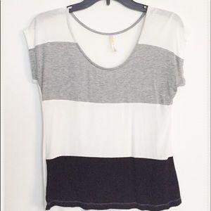 Tops - White, Black & Gray Color Block Soft Top