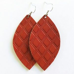 NWT Tan Leather Leaf Earrings