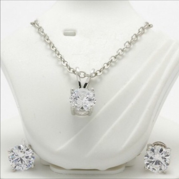 Jewelry - 2 of Set White Sapphire Necklace & Earrings