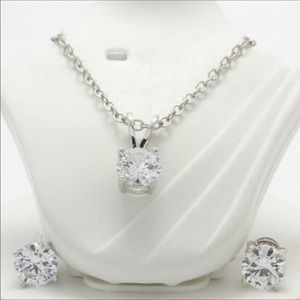 2 of Set White Sapphire Necklace & Earrings