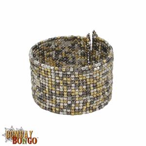 Fair Trade Bohemian Metallic Beaded Cuff Bracelet