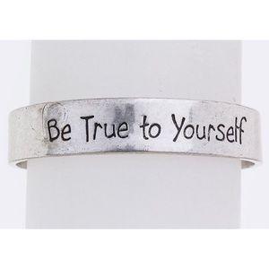 Jewelry - Be True To Yourself  Silver • Metal Wrist Cuff