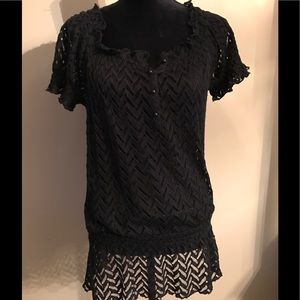NY Collections Women's Black Lace Top Size Medium