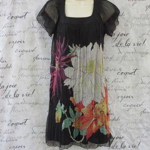 Max Studio Black Flutter Printed Silk Shift Dress