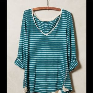 MEADOW RUE Anthropologie Cassia Stripe Lace Top