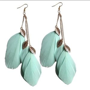 Jewelry - Mint green colored feather earrings!