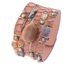 Jewelry - Peach w/ jewels on faux leather snap Wrist Cuff