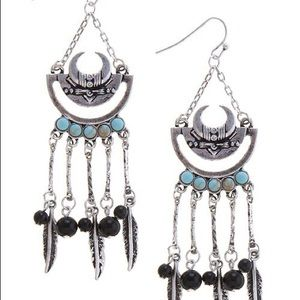 Jewelry - Crescent Dangle Silver Gold Earrings