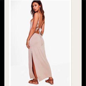 NWT Sand Petite Lace back Maxi Dress