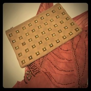 Tan leather studded asos clutch