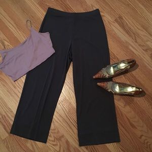 DKNY DEEP TAN SILKY, LOOSE FIT CAPRI PANTS