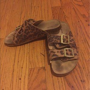 Birkenstock styled cheetah print sandals