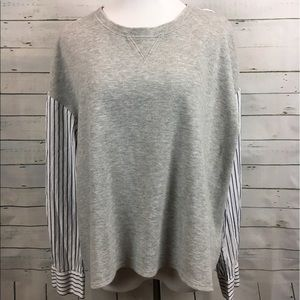 LOFT mixed media striped Blouse sweatshirt