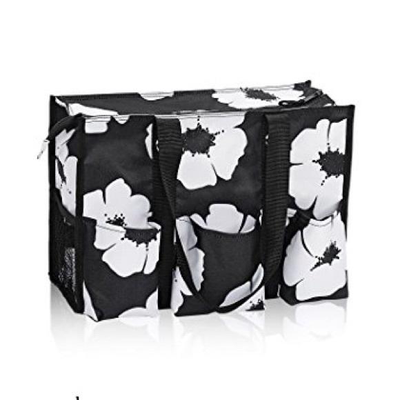 Thirty One Bags 31 Ziptop Organizing Utility Tote In White Poppy