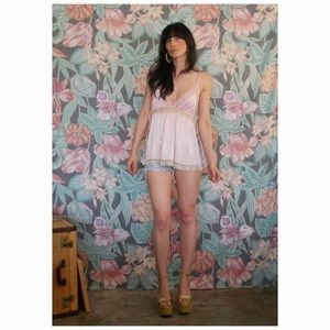 Pink and Tan Lace Vintage Camisole Lingerie Tank