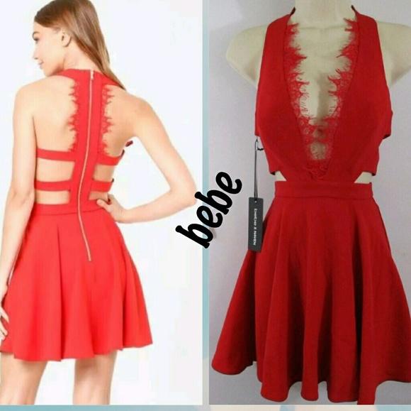 Nwt Bebe Scallop Lace Trim Dress Nwt