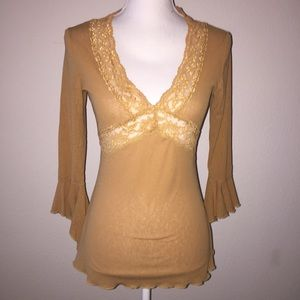 Rue21 Brown Lace Bell Sleeve Top