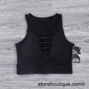 Other - Lace Up Criss-Cross X Mesh Workout // Sports Bra