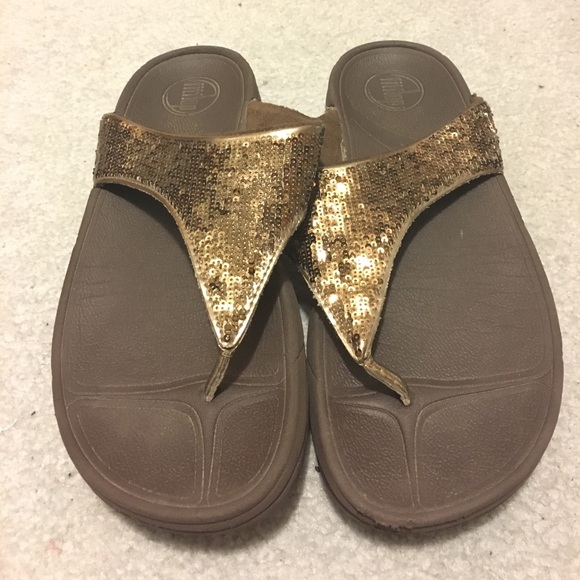 FitFlop Shoes - Bronze Sequins Thong FitFlop