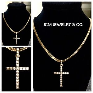 """Other - 14K Gold Plated Miami Cuban w/Iced Out 1"""" Cross"""