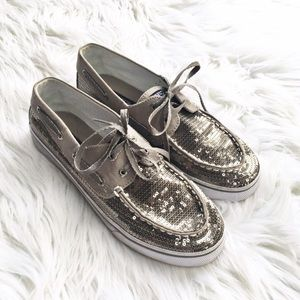 Sperry Topsider silver sequin boat shoes