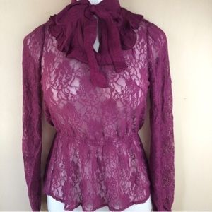 Tops - Mulberry lace high collar top