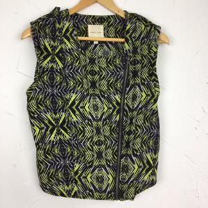 SILENCE + NOISE Tribal Print Neon Zip Top Vest