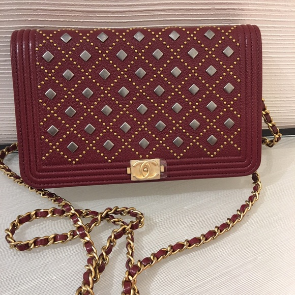 a06ede23dc58 CHANEL Bags | Sold Boy Studded Woc In Burgundy | Poshmark