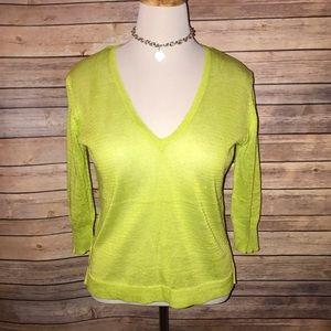 Zara Neon Lime Linen Blend V Neck Sweater