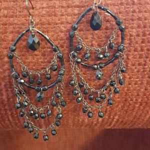 Black Bead Chandelier Earrings