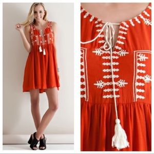 Boho Rust Embroidered Sleeveless Tassel Dress