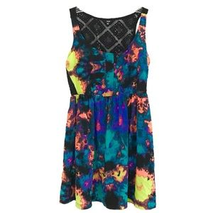 ☀️Hurley NWT Neon Floral Mini Dress  XL (fits M/L)