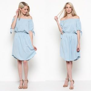 🌟 Off the shoulder dress light blue