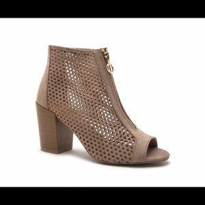 Shoes - Isabella Peep Toe Booties Taupe