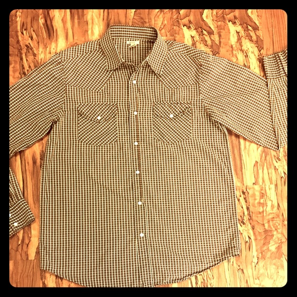 73 off carbon other men 39 s carbon brown white snap for Mens shirts with snaps instead of buttons