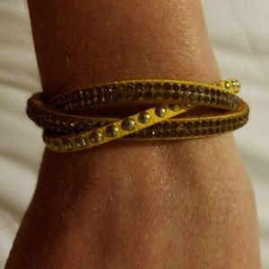 Jewelry - 3 strand braided yellow wrap bracelet