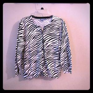 Sweaters - Delia's long sleeve back and white zebra cardigan