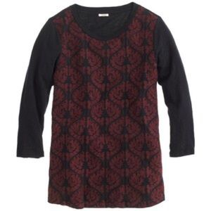 J.Crew women's embroidered front tee navy maroon