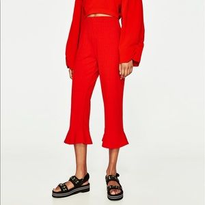 Zara red ribbed trouser with frill size L