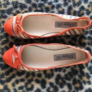 Shoes - Diane B. Orange suede /striped ballet shoe