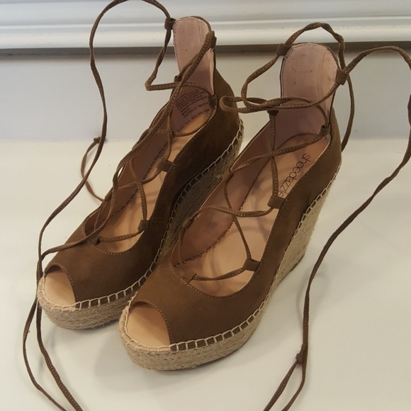 Tan Faux Suede Lace Up Wedges
