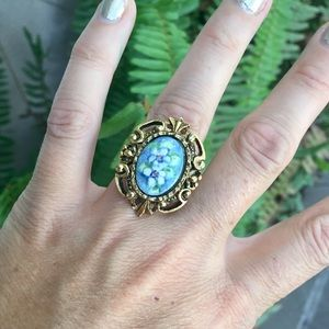 Vintage gold tone Boho Painted Floral ring Gypsy