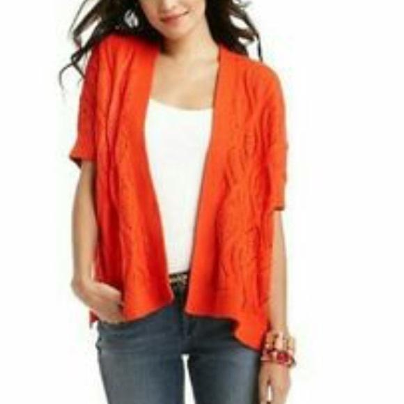 75% off LOFT Sweaters - Ann Taylor LOFT red orange open front ...