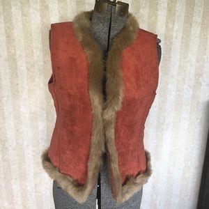 600 West  faux fur trimmed vest.