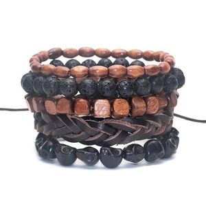 Other - Men's 5-pcs Brown And Black Bamboo Bracelet
