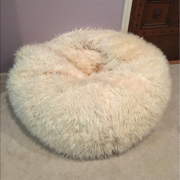 PB Teen White Furry Bean Bag Chair